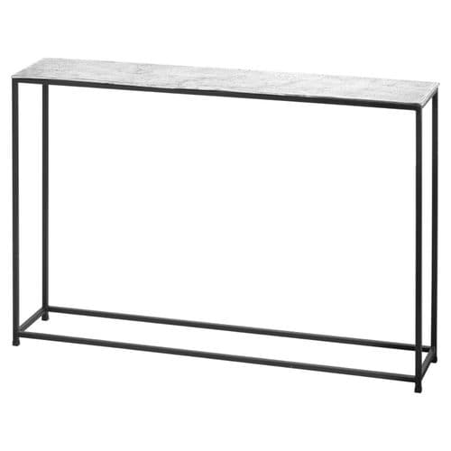 MODERN INDUSTRIAL CAST SILVER BLACK METAL SIDE CONSOLE TABLE (H21319)
